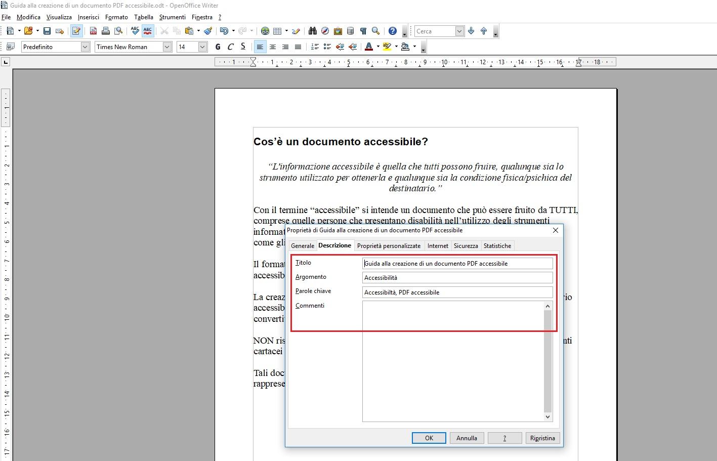 Questa immagine mostra come aggiungere le proprietà al documento se si utilizza OpenOffice Writer