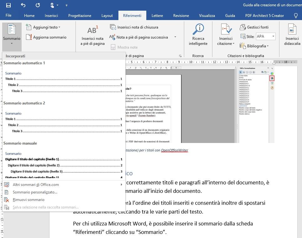 Questa immagine mostra come inserire il sommario all'inizio di un documento creato con Microsoft Word