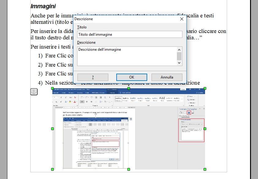 Questa immagine mostra come inserire i testi alternativi su un'immagine con OpenOffice Writer