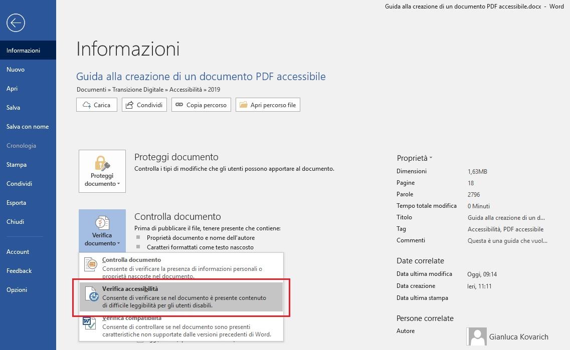 Questa immagine mostra come verificare l'accessibilità di un documento con Microsoft Word