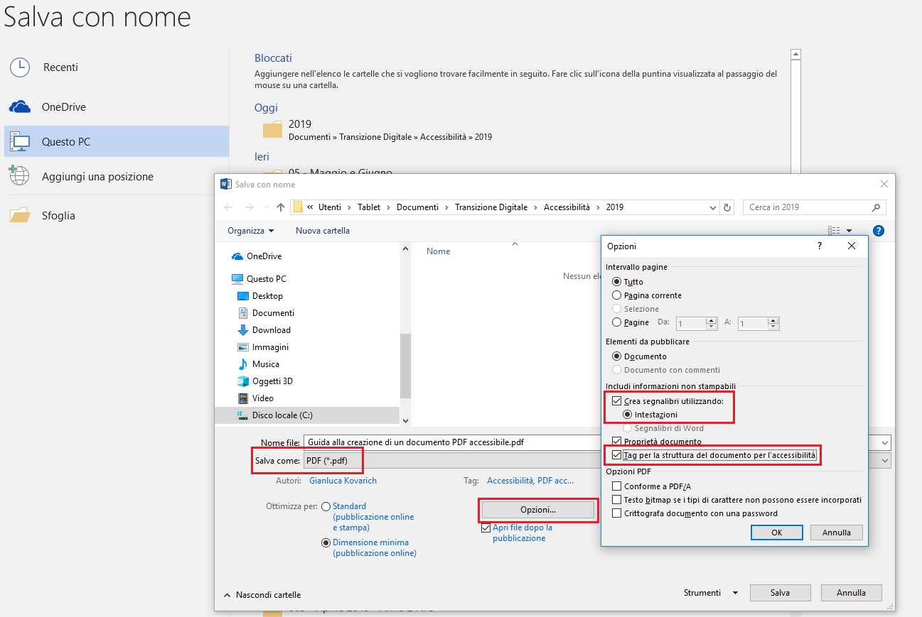 Qeusta immagine mostra come convertire un documento in PDF con Microsoft Word